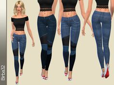 A pair of tight jeans in two shades of blue with leather inserts and patches of different color jens. Something original for your sims.  Found in TSR Category 'Sims 4 Female Everyday'
