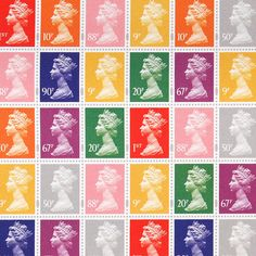 Queen Elizabeth II Stamp Gift Wrap.  I remember that as a child I collected these stamps. Probably the best known silhouette in the western world!