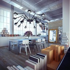 When designing a loft apartment, the main idea is to emphasize the interesting structural elements. We will show you 25 loft decor ideas with industrial and Loft Estilo Industrial, Industrial Dining, Industrial House, Industrial Interiors, Modern Industrial, Industrial Windows, Industrial Lighting, Industrial Wallpaper, Industrial Bookshelf
