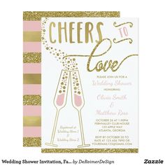 Wedding Shower Invitation, Faux Glitter/Foil Card
