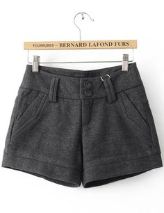 Grey Loose Button Fly Shorts - Sheinside.com