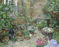 Melissa Scott-Miller (British, b.1959) Back garden in full bloom signed with initials 'MESM' (lower left), oil on canvas 121.5 x 152.5cm