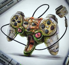 Playstation controller monster style by Tino Valentin aka@tino_copic!! #copic #copicmarkers #copicart #copicsketch #markerartist #monster #drawing #draw #art #artoftheday #artwork#artistic #cool#colourful #videogames #videogiochi#retro #retrogamer#retrocollector#guygamer#photooftheday#play#playing#playinggames #playstation #psone#psx #ps4#ps2 #enricones_hohoho_gamer