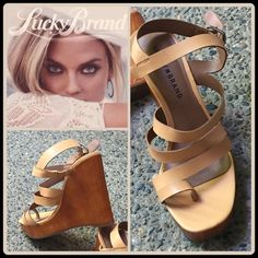 """JUST IN[LUCKY BRAND] CAGED WOOD WEDGE Size--8.5 With Tags $90 Retail + Tax   Leather straps wrap the vamp and top of a trend-savvy platform sandal set on a sky-highwedge heel.  *Strappy Leather upper *Adjustable ankle strap/Buckle closure *Cushioned footbed/Man-Made lining *Rubber sole *Heel height 4.5"""" *Platform 1.25""""   2+ BUNDLE=SAVE  ‼️NO TRADES--NO HOLD   Brand Items Authentic   ✈️ Ship Same Day--Purchase By 2PM PST    USE BLUE OFFER BUTTON TO NEGOTIATE  ✔️ Ask Questions Not Answered In…"""