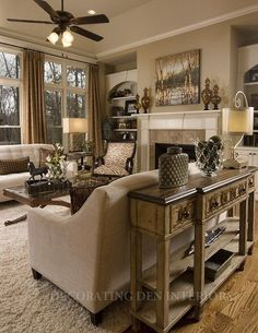 Neutral living room (love that table behind the couch look but of course not until the kids are out of the house)