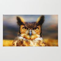 Area & Throw Rug featuring Great Horned Owl by gypsykissphotography