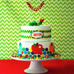 caterpillar cake-bottom layer only with topper from etsy