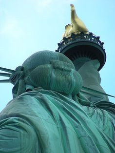 NYC. Statue of Liberty unusual rear view