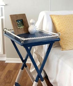 tray table makeover…I like this better than the original maple TV trays…and they usually come in set of 4 so you can make 2 nightstands for each nautical bedroom! Nautical Decor Diy, Nautical Table, Home Crafts, Nautical Bedroom, Nautical Diy, Tray Table, Tv Tray Makeover, Furniture Makeover, Coastal Decor