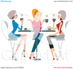 Royalty-Free (RF) Clipart Illustration of a Group Of Young Ladies Chatting Over Coffee by BNP Design Studio