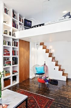 Home Interior: Simple Wooden Staircase To Access Modern White Mezzanine Bedroom Design With Double Height Wall Library, Home Living, Modern Home Tiny Spaces, Small Apartments, Small Space Living, Living Spaces, Living Area, Living Room, Mezzanine Bedroom, Mezzanine Loft, Home Design