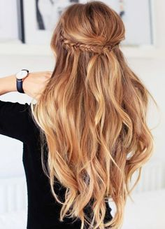 fishtail crown braid + long curls