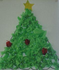 Colagem com papel crepe - Árvore de Natal