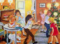 Illustratie van Ilon Wikland uit het boek 'Winter in Bolderburen' van Astrid Lindgren.