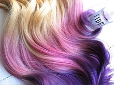 """Blonde Ombre, Blonde hair extensions dipped in purple haze and pink, Lauren Conrad, Dip Dye, 7 Pieces, 16"""" on Etsy, $199.00"""