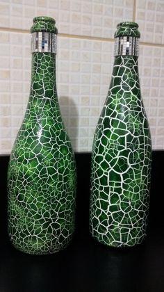 garrafas decoradas craqueladas - Pesquisa Google
