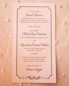 Romantic Menu Card - could it have this type of pattern - with blue on the outside and then grey on the inside? no squiggly calligraphy...