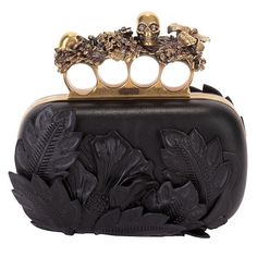 BLACK 3D FLOWER KNUCKLE BOX CLUTCH