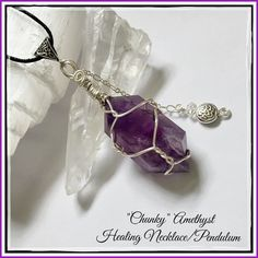 ✨Chunky Amethyst Double-Terminated Necklace✨ Beautiful and Vibrant Natural Amethyst has the ability to transform lower energies into higher energies and acts as a healer at all levels of the mind, body, and spirit. The healing powers of Amethyst date as far back as the Greeks who believed Amethyst protected a person from the intoxicating effects of alcohol. Amethyst correlates to the crown chakra. Amethyst acts as a natural form of stress relief. This crystal attracts positive energy while…