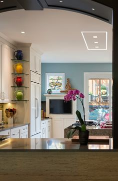 Custom kitchen design with LED colour changing RGB Strip lights by