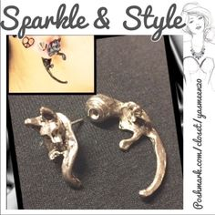 Silver cat earrings So cool! Looks like a cat jumping through the ear lobes. NEW 2 pairs available Jewelry Earrings