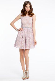 TWO TONE GLITTER AND LACE DRESS #homecoming #dresses #shortdress #style #fashion #lace #pink
