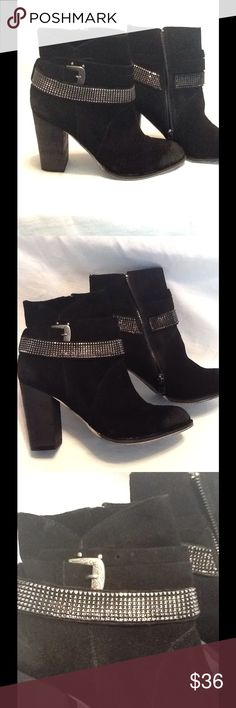 "New Nine West black leather heeled ankle boots Nine West black suede leather , distressed toe and heel , aged sliver buckle, and strap, side zipper , 3.5"" heel, these boots are new without box. Size 6.5 Nine West Shoes Heeled Boots"