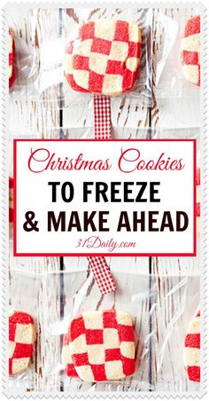 The holidays are around the corner. Save yourself time with these Make Ahead Christmas Cookies! Easy recipes, freezer friendly and festive! Mini Desserts, Holiday Desserts, Holiday Baking, Holiday Treats, Christmas Baking, Holiday Recipes, Christmas Recipes, Freezer Desserts, Freezer Food