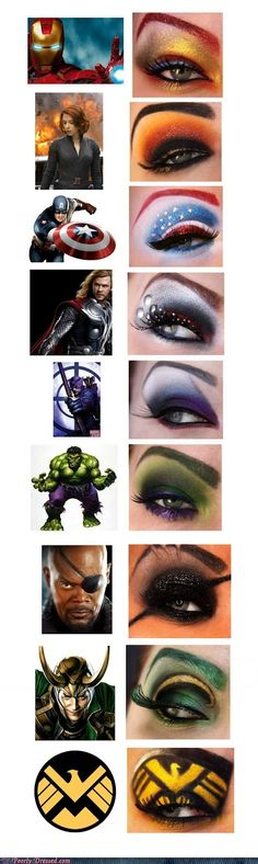Superhero Eye Makeup, matches each super hero!