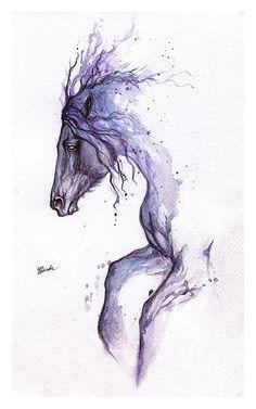 Framed original watercolour painting-Tattoo horse by AngelHorses