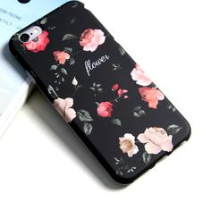 3.99 usd #iphone# For iphone 6/6s/6 plus/6s plus/7/7 plus more temperament fashion blacks flowers boiled smartphone phone cases for apple iphone 7 fundas back cover