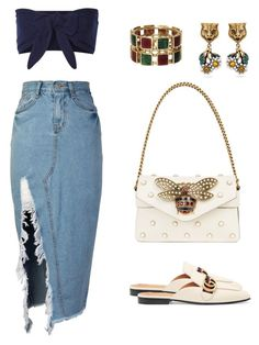 """""""G"""" by zeyneeepkoca on Polyvore featuring moda, storets, Solid & Striped ve Gucci"""