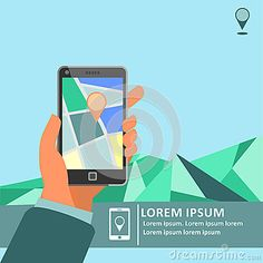 Mobile gps navigation on mobile phone with map poster. Smartphone with navigation map in hand. Mobile technologies ad campaign or cover concept.