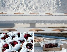 When Brazil Meets Greece Wedding @ Alemagou, Mykonos by De Plan V. Vintage white paper bags filled with fresh juicy cherries, welcome church table, ceremony, wooden fans for guests!