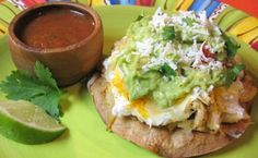 Chicken, Roasted Poblano, and Bell Pepper Tostadas