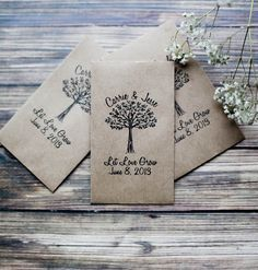 Seeds as wedding favors, because not only are they affordable, but they're also an eco-friendly gesture. However, keep in mind that not everyone has the space in their home or a yard to grow plants. You can make the seed packets yourself or buy customized ones online. We found these cute kraft-seed envelopes on Etsy that are selling for $80 per 100 pieces — that's $0.80 per envelope.  Source: Etsy user RedCloudBoutique