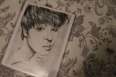 Jin of KPop group BTS caricature drawing by by PartsUnknownPosters