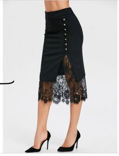 Buy Oblique Button Midi Lace Slit Skirt, sale ends soon. Be inspired: discover affordable quality shopping on Gearbest Mobile! Black Midi Skirt, Slit Skirt, Lace Skirt, Embellished Skirt, Mini Short, Skirts For Sale, Curvy Fashion, Cheap Fashion, Ladies Dress Design