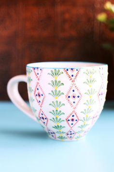 Hand Painted Floral Ceramic Mug. #earthboundtrading