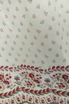 Detail, roller printed Regency day gown.