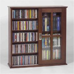 Leslie Dame MS-350W Wall Mounted Sliding Door Mission Style Media Storage Cabinet, Walnut