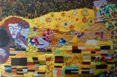 Homenaje a Gustav Klimt El Beso por Stella Sarmiento del Taller de Collage en Lana