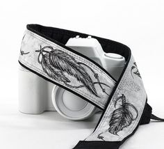 Feathers Camera Strap dSLR Hand Painted Pen and Ink One by ten8e