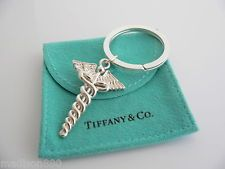 Tiffany & Co Silver Medical Doctor Caduceus Key Ring Key Chain Keychain Rare
