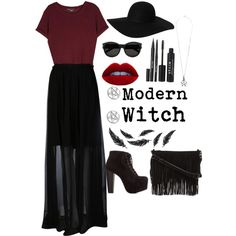 Modern witch by loveshoes-1 on Polyvore featuring Vince, Carven, Charlotte Russe, Rebecca Minkoff, Monki, Yves Saint Laurent, Stila and modern