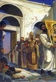 The accession of Emperor Michael VIII to Constantinople. Byzantine Army, Byzantine Icons, Roman Pictures, The Bible Movie, High Middle Ages, Medieval World, Orthodox Icons, Historical Pictures, Roman Empire