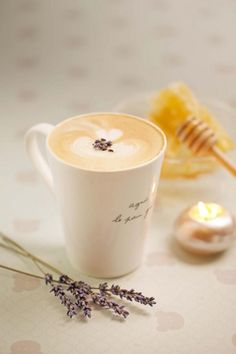 Lavender and honey hot coffee