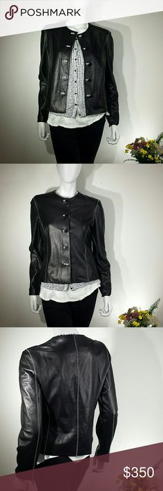 """Reversable Black and White Leather Jacket Reversable leather jacket  Black with white stitching on one side Clean white on the other side  No tags or labels  Size medium  Measurements when flat:  Across shoulders 15"""" Across chest at armpits 17"""" Across waist 18"""" Neck to waist 19"""" Shoulder to wrist 24"""" Jackets & Coats Blazers"""