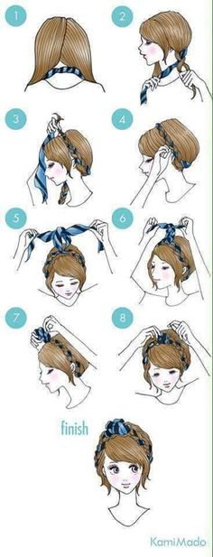 29 simple and easy ways to tie up your hair ^_____^ - Imgur