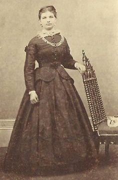 CDV Photo Beautiful Young Girl Nice Hoop Dress Civil War Era Hanover PA | eBay